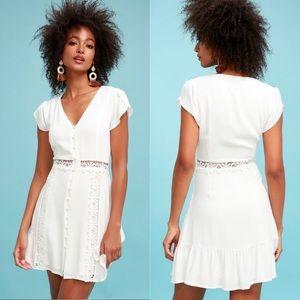 LuLus Wistful Wanderer White Crochet Lace Dress